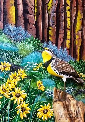 Mixed Media - Meadowlark Sumflowers by Jennifer Lake