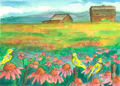 Meadowlark Painting - Meadowlarks Coneflower Field by Cathie Richardson