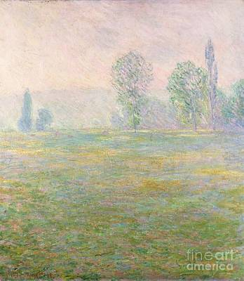 Mist Painting - Meadows In Giverny by Claude Monet