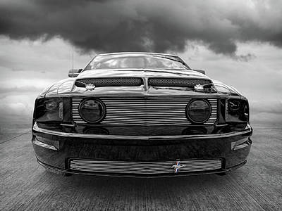 Ford Mustang Photograph - Mean And Moody Black Mustang by Gill Billington