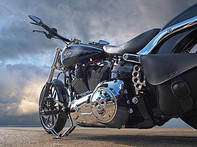 Chrome Skull Photograph - Mean Machine - Harley by Gill Billington