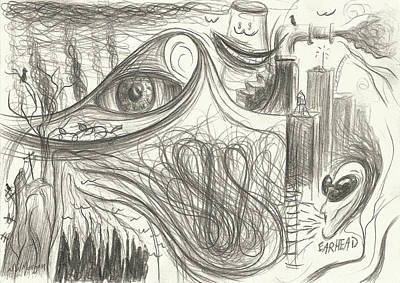 Drawing - Meanwhile Eyewave Blows Smoke While Listening To Earhead Smile by Michael Morgan