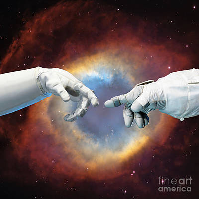 Spacesuit Digital Art - Meanwhile, In Space by Jacky Gerritsen
