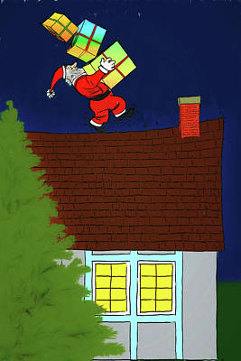 Digital Art - Meanwhile Up On The Housetop by John Haldane