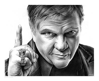 Musicians Drawings - Meat Loaf by Greg Joens