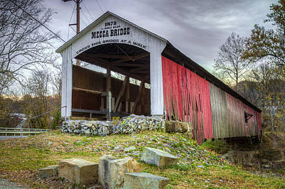 Photograph - Mecca Covered Bridge by Jack R Perry