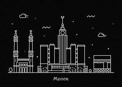 Drawing - Mecca Skyline Travel Poster by Inspirowl Design