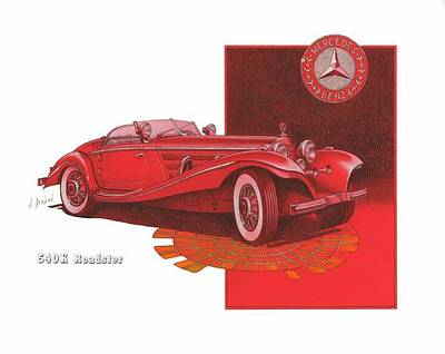 Mercedes Automobile Drawing - mecedes benz 540K roadster by Mike  Goebel