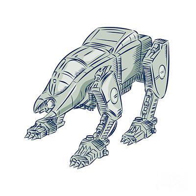 Bot Digital Art - Mecha Bot High Angle Etching by Aloysius Patrimonio