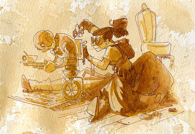 Steampunk Wall Art - Painting - Mechanic by Brian Kesinger