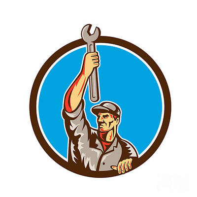 Raising Digital Art - Mechanic Raising Up Spanner Circle Retro by Aloysius Patrimonio
