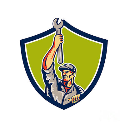 Raising Digital Art - Mechanic Raising Up Spanner Wrench Shield Retro by Aloysius Patrimonio