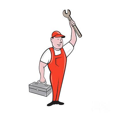 Raising Digital Art - Mechanic Raising Wrench Holding Toolbox Cartoon by Aloysius Patrimonio