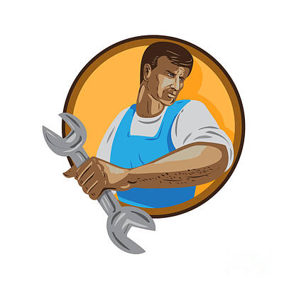 Public Administration Digital Art - Mechanic Worker Holding Spanner Circle Wpa by Aloysius Patrimonio