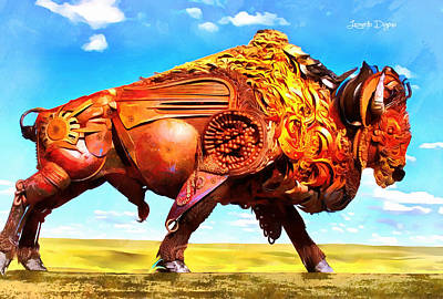 Heads Digital Art - Mechanical Bull - Da by Leonardo Digenio