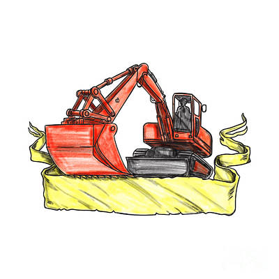 Heavy Equipment Digital Art - Mechanical Digger Excavator Ribbon Tattoo by Aloysius Patrimonio