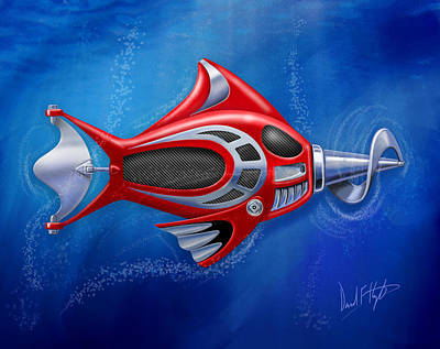 Mechanical Digital Art - Mechanical Fish 1 Screwy by David Kyte