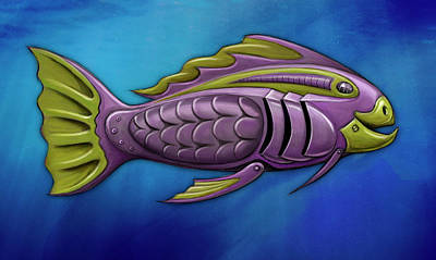 Aquatic Digital Art - Mechanical Fish 4 Harley by David Kyte