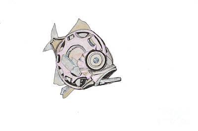 Piranha Painting - Mechanical Fish No 4.piranha by Elaine MacKenzie