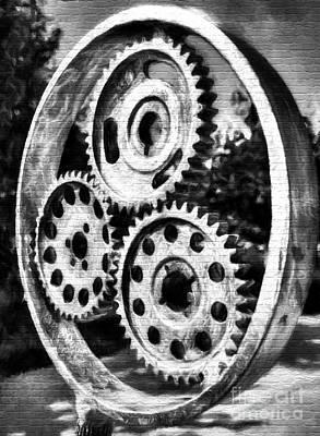 Photograph - Mechanical Flowers On Bricks Bw by Mel Steinhauer