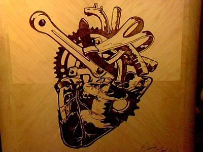 David Gray Pyrography - Mechanical Heart by David Gray