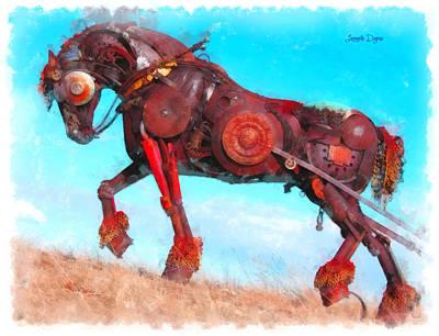 Mechanical Digital Art - Mechanical Horse - Da by Leonardo Digenio