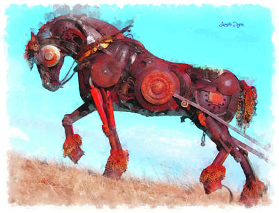 Dried Painting - Mechanical Horse by Leonardo Digenio