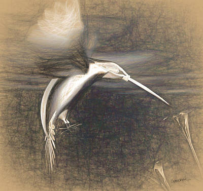 Charcoal Digital Art - Mechanical Hummingbird by Cynthia Decker
