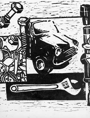 Mechanical Linoprint Art Print by Tom  Layland