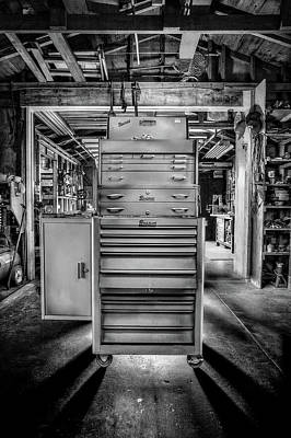 Photograph - Mechanics Toolbox Cabinet Stack In Garage Shop In Bw by YoPedro