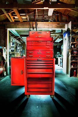 Photograph - Mechanics Toolbox Cabinet Stack In Garage Shop by YoPedro