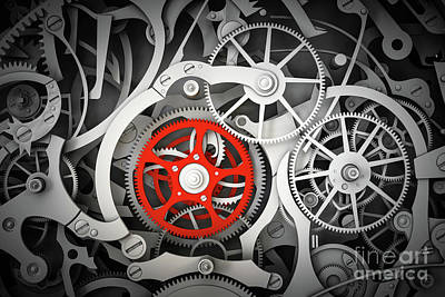 Swiss Photograph - Mechanism, Clockwork With One Different, Red Cogwheel. by Michal Bednarek