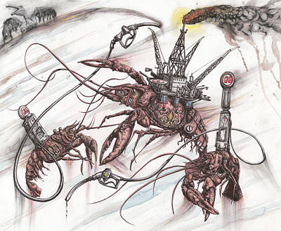 Pelican Mixed Media - Mechanized Mudbugs, Branded Fleur De Lis, Scourge The Seas by Tai Taeoalii