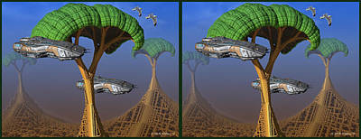 Digital Art - Mechanized World - 3d Stereo Crossview by Brian Wallace