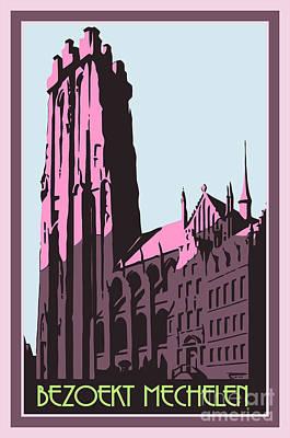 Mechelen Retro Vintage Travel Advert Flemish Dutch Version Art Print by Heidi De Leeuw