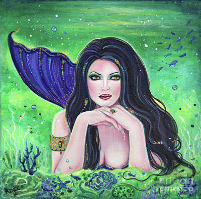 Mermaid Tail Painting - Medea Mermaid  by Renee Lavoie