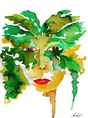 Painting - Medeina Goddess Of The Woodland Forest by Jean Fry