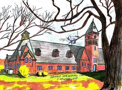 Drawing - Medfield State Hospital Chapel by Paul Meinerth