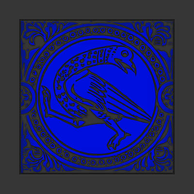 Mediaeval Bird Revision - Blue Art Print by Li   van Saathoff
