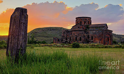 Photograph - Mediaval Talin's Cathedral At Sunset With Cross Stone In Front, Armenia by Gurgen Bakhshetsyan