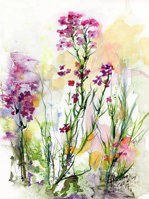 Painting - Medicinal Wild Flowers Dames Rocket Hesperus Matronalis by Ginette Callaway