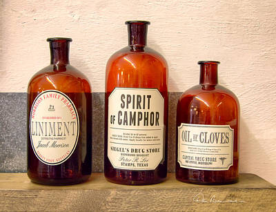 Dan Beauvais Royalty-Free and Rights-Managed Images - Medicine Bottles 1925 by Dan Beauvais