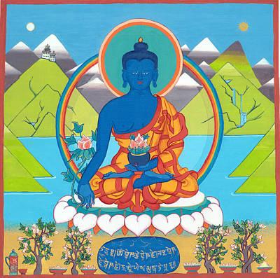 Tantra Drawing - Medicine Buddha Or Bhaishajyaguru by Berty Sieverding