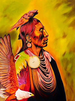 Pedro Drawing - Medicine Crow And Eagle by Keely Spell