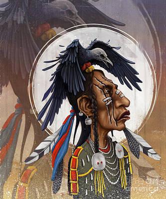 Crow Digital Art - Medicine Crow by Andre Koekemoer