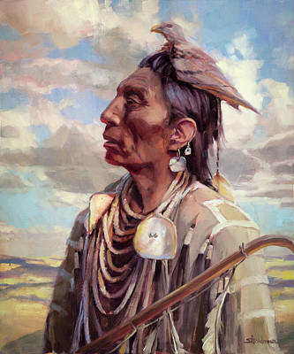 Indian Wall Art - Painting - Medicine Crow by Steve Henderson