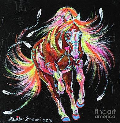 Medicine Fire Pony Art Print by Louise Green