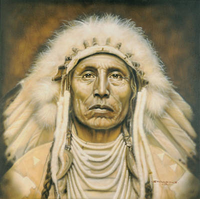 Indian Portraits Painting - Medicine Man by Timothy Scoggins