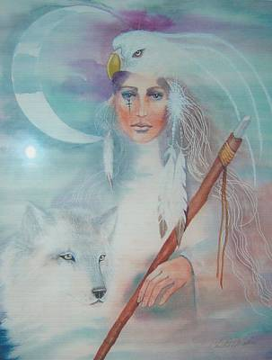 American Eagle Painting - Medicine Woman by Christine Winters