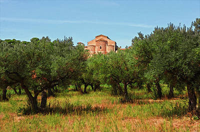 Painting - Medieval Abbey Among Olive Trees In Italy by Andrea Mazzocchetti
